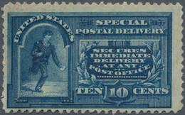 """Vereinigte Staaten Von Amerika: 1895 Special Delivery Stamp 10c. Blue, Variety """"Dots In Curved Frame - Ungebraucht"""