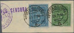 Italienische Besetzung 1918/23 - Trentino: 1918 Austria 2kr. Ultramarine And 4kr. Green Both Overpri - Trente