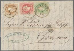 Österreichische Post In Der Levante: 1873, 3 So Grün, 5 So Rot Und 15 So Hellbraun, MiF Auf Faltbrie - Levant Autrichien