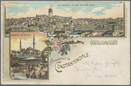 """Österreichische Post In Der Levante: 1899, Litho-Ansichtskarte """"Souvenir De Constantinople"""" Mit Attr - Levant Autrichien"""