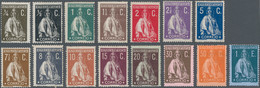 Portugal: 1912/1920, 1/4 C To 1 E Ceres, Complete Set Chalky Paper Mint Hinged. Michel 1100,- €. - Nuevos