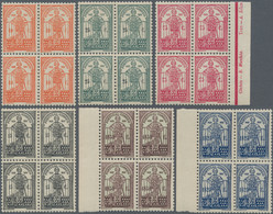 Portugal: 1931, Dum Nuno Álavrez, Complete Set Of Six Stamps, Each In Blocks Of Four, Three With A M - Nuevos