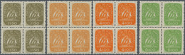 Portugal: 1949, Definitives Caravelle, Four Values In Blocks Of Four, Mint Never Hinged (natural Gum - Nuevos