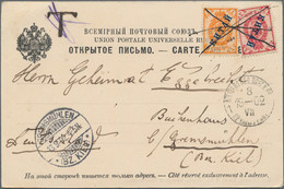 Russische Post In China: 1899, 1 K., 3 K. On Ppc (birds View Of Harbour) Canc. Pen Strokes, Stamps W - Cina