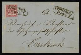 TREASURE HUNT [01904] Baden 1860s Cover Sent Within Pforzheim, Franked With 3kr Rose, Framed Pmk. On Stamp - Baden