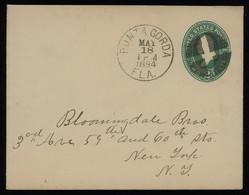 TREASURE HUNT [01909] US 1894 Washington 2c Green Postal Cover From Punta Gorda, FL To New York, Neatly Struck C.d.s - Storia Postale