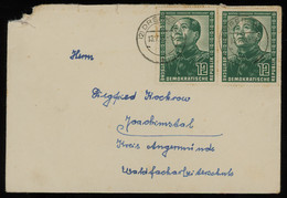 TREASURE HUNT [01972] DDR 1951 Cover From Drebkau To Joachimsthal Bearing German-Chinese Friendship 12 Pf Green (x2) - Cartas