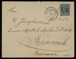 TREASURE HUNT [01986] Romania 1889 Cover From Galați To Eisenach, Germany With King Carol I 25b Blue, Seal On The Back - Cartas