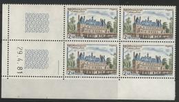 N° 2135 Château De Sully. Bloc De 4 Avec Coin Daté Du 29/4/81. Neuf ** (MNH). Vendu à La Valeur Faciale. TB - 1980-1989