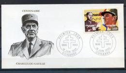 TIMBRE FRANCE REF150520...DOCUMENT PHILATELIQUE 1ER JOUR, Centenaire Charles De Gaulle - 1990-1999