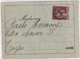 PAIX PREOBLITERE 65c ! - ETIQUETTE COLIS => TROYES (AUBE) - 1932-39 Vrede