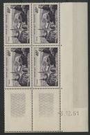 N° 916 PIC DU MIDI. COTE 35 € Bloc De 4 Avec Coin Daté Du 3/12/51. Neuf ** (MNH). TB - 1950-1959