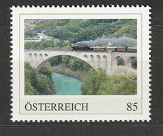 Österreich PM Spektakuläre Bahnstrecken Salcanobrücke Wocheiner Bahn Slowenien ** Postfrisch - Private Stamps