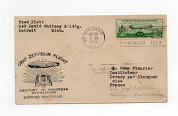 !!! ETATS UNIS, VOL PAR ZEPPELIN CHICAGO - FRIEDRICHSCHAFFEN, LETTRE DU 26/10/1933 POUR LA FRANCE - Marcofilia