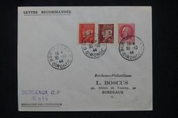 FRANCE -Type Pétain Avec Surcharge De Libération En 1944 Sur Enveloppe En Recommandé De Bordeaux - L 106240 - Liberation