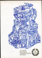 "DDR 1974 Big Propaganda Gedenkblatt Mi.Nr.1949/52 U Bl.41.""25 Jahre DDR ""mit SST ""1085 Berlin ""1 Big Klappkarte - Briefe U. Dokumente"