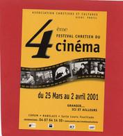 PUB---CART'COM--34---4ème Festival Chrétien Du Cinéma--2001---voir 2 Scans - Zonder Classificatie