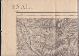 Belle Carte Epinal (Vosges) Agrandissement Au 1/50 000 De La Carte 1/80 000 De L'Etat-Majr Français - Topographical Maps