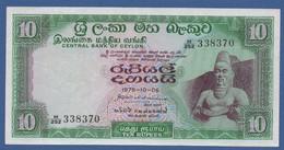 CEYLON & SRI LANKA - Central Bank Of Ceylon - P.74Ab – 10 RUPEES 1975 VF/XF Serie M/252 338370 - Sri Lanka