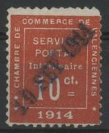 Timbre De Guerre N°1 Cote 525 € 10 Ct Vermillon Oblitéré Dateur Linéaire Bleu Du 19/SEP/1914. Vendu à 14% De La Cote - Kriegsausgaben