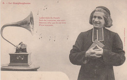 CPA Précurseur Le Graphophone N° 8 Phonographe Gramophone Musique Music Curé Abbé Fantaisie 2 Scans - Men