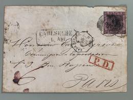 Enveloppe Oblitéré 7 Avril 1859 Bade Strasb. PD En Rouge Encadré  Vers Paris - Baden