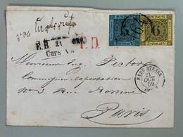 Enveloppe Oblitéré 164 / 21 Octobre 1859 Bade Strasb. PD En Rouge  Vers Paris - Baden