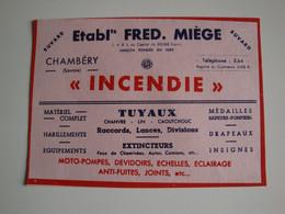Buvard Avec Pub Pour Matériel D'incendie, Ets Fred Miège à Chambéry,moto-pompes,médailles - Other