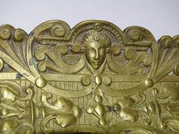 ANCIEN PORTE CRAYONS PLUMES BRONZE XIXe JUS DE GRENIER BELLES VOLUTES & Tête MASCARON Déco BUREAU - Bronzi