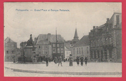 Philippeville - Grand'Place Et Banque Nationale ... Belle Animation - 1925 ( Voir Verso ) - Philippeville