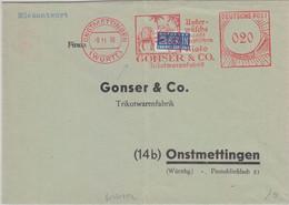 BRD - Onstmettingen 1950 20 Pfg. AFS Trikotwarenfabrik Gonser Brief/Rückantwort - Machine Stamps (ATM)