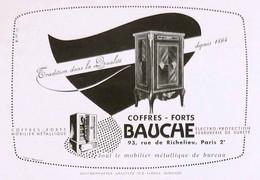 Publicité Papier BAUCHE COFFRE-FORT  Juin 1950 RE P1057212 - Werbung