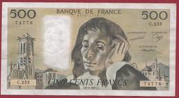 """France 500 Francs """"Pascal"""" Du 08/01/1987.J--ALPH.C.253 --  .dans L 'état (P.207) - 500 F 1968-1993 ''Pascal''"""