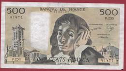 """France 500 Francs """"Pascal"""" Du 08/01/1987.J--ALPH.U.253 --  .dans L 'état (P.208) - 500 F 1968-1993 ''Pascal''"""