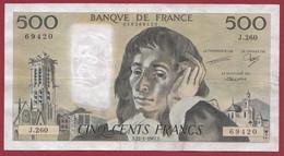 """France 500 Francs """"Pascal"""" Du 22/01/1987.F--ALPH.J.260 --  .dans L 'état (P.209) - 500 F 1968-1993 ''Pascal''"""