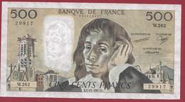 """France 500 Francs """"Pascal"""" Du 05/11/1987.B--ALPH.W.262 --AUCUN TROU D EPINGLE  .dans L 'état (P.210) - 500 F 1968-1993 ''Pascal''"""
