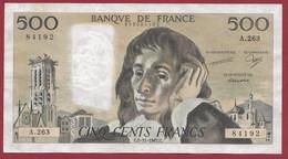 """France 500 Francs """"Pascal"""" Du 05/11/1987.C--ALPH.A.263 --1 TROU D EPINGLE  .dans L 'état (P.211) - 500 F 1968-1993 ''Pascal''"""