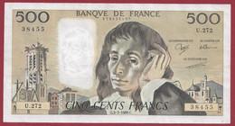 """France 500 Francs """"Pascal"""" Du 03/03/1988.C--ALPH.U.272 --  .dans L 'état (P.214) - 500 F 1968-1993 ''Pascal''"""