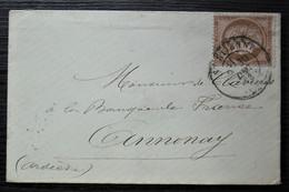 1873 10 Centimes Cérès  Brun Sur Rose N°58 Sur Petite Lettre De Saint-Etienne Pour Annonay - 1849-1876: Periodo Clásico