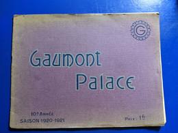 1920 1921 PROGRAMME CINEMA GAUMONT PALACE PLUS GRAND CINEMA DU MONDE - Programmi