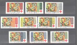 """France Autoadhésifs Oblitérés N°1863 à 1872 (Croix Rouge """"Rythme, Joie De Vivre"""" Robert Delaunay) (lignes Ondulées) - Oblitérés"""