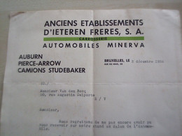 Facture Ancienne    1934 ANCIENS ETABLISSEMENTS D'IETEREN FRERES   BRUXELLES - Automovilismo