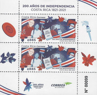 COSTA RICA 200 AÑOS DE INDEPENDENCIA, 200 YEARS OF INDEPENDENCE MNH 2021 - Costa Rica
