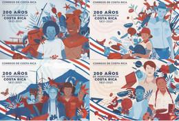 COSTA RICA 6 TARJETAS PREPORTEADOS, 200 AÑOS DE INDEPENDENCIA, 200 YEARS OF INDEPENDENCE 2021 - Costa Rica