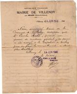 VP18.221 - Mairie De VILLENOY Par MEAUX 1948 - Certificat Permis De Conduire - Le Maire à Mr André LERICHE - Collections