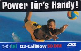 "GERMANY - Power Fur""s Handy, D2/Debitel Prepaid Card 50 DM, Exp.date 08/02, Used - Sport"