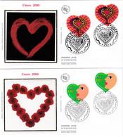 France FDC Premier Jour Soie 2000 2 Enveloppes Coeur Yves Saint Laurent 3297 + 3298 - 2000-2009