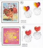France FDC Premier Jour Soie 1999 2 Enveloppes Coeur 3220 + 3221 - 1990-1999