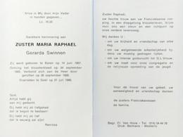 DOODPRENTJE - ZUSTER MARIA  RAPHAEL ( GERADA  SWINNEN)(° BALEN 1907/+ GEEL 1986) (dp 27) - Overlijden