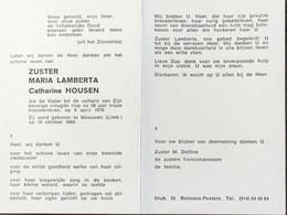 DOODPRENTJE - ZUSTER MARIA LAMBERTA ( CATHARINA HOUSEN )(° MEEUWEN 1889/) (dp 28) - Overlijden